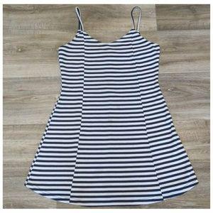 Comfy Striped Spaghetti Strap Dress with Zipper